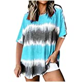 Tops for Women Sexy Crewneck Collar Color 3D Colorblock Tie Dye Print Short Sleeve Fold Casual Tshirts Blouse Tops