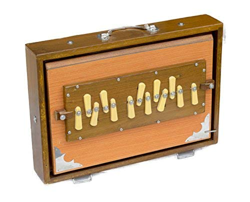 Shruti Box Maharaja Musicals, professionelle Qualität, 33 x 24 x 7,6 cm, naturfarben, 13 Noten, Sur Peti, Shruthi Box, guter Nachhalt, mit Tasche (PDI-AGB)