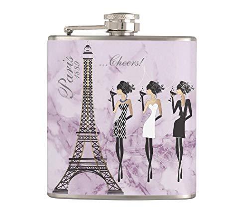 Petaca para licor y embudo, 7 onzas de acero inoxidable a prueba de fugas, petaca de bolsillo, celebración de París en mármol morado, gran idea de regalo