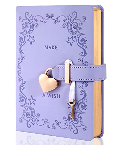 CAGIE Heart-Shaped Lock Diary with Key, Leather Journal Diary with Lock for Girls, B6 Cute Locking Journals for Kids, 5.3x7 Inch, Lavender
