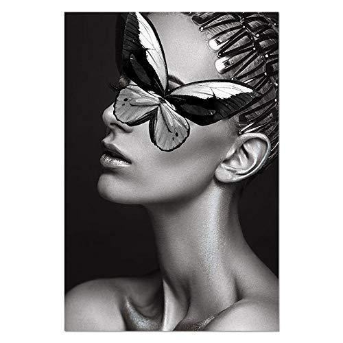U/N Moderno Negro Blanco Sexy Mujer Encantadora Belleza de Labios Lienzo Pintura Moda Mariposa Pared Arte Imagen para Sala de Estar decoración del hogar-5