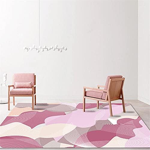 Alfombra Decoracion Salon Alfombra de Dormitorio de Sala de Estar de Graffiti geométrico Abstracto Beige púrpura Rosa Decoracion casa alfombras Dormitorio Matrimonio 100*160cm