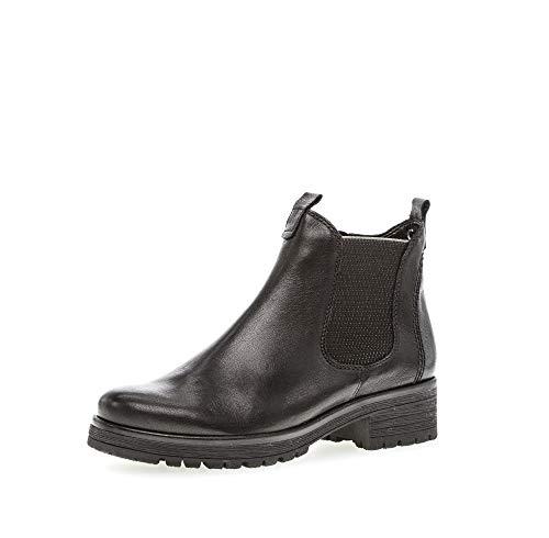 Gabor Damen Stiefeletten, Frauen Chelsea Boots,Comfort-Mehrweite,Reißverschluss,Übergrößen,Optifit- Wechselfußbett,schwarz (Micro),40 EU / 6.5 UK