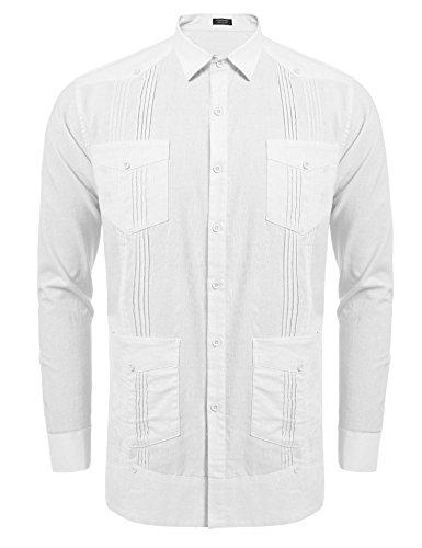 COOFANDY Herren Langarm Cuban Guayabera Hemd Casual Button Down Baumwolle Leinen Strand Hochzeit Hemd - - X-Groß