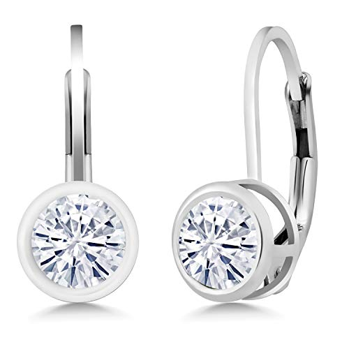 925 Sterling Silver Dangle Earrings Set Round Forever Classic 1.00 ct (DEW) Created Moissanite from Charles & Colvard
