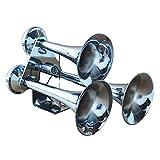 INTBUYING Multiple Models 12V Air Horn Truck Boat Marine Loud Trumpet Electric Train Horn Chrome (3 Tube)