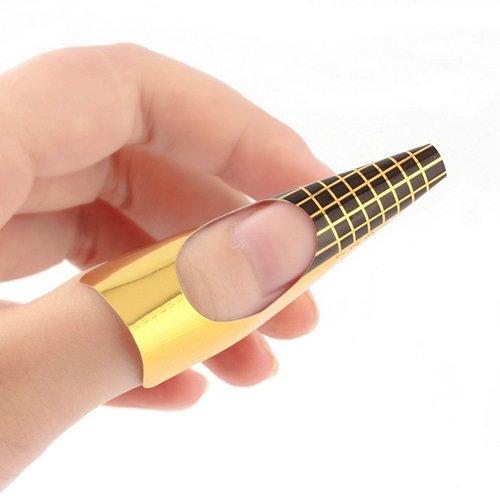 100 PC Doré Nail Art Conseils Extension formulaires Guide Français Outil DIY Acrylique Gel UV