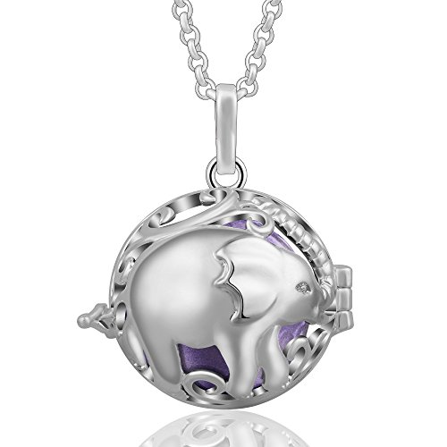 Eudora Harmony Ball Colgantes Lindo Elefante Mujer Llamador de Angeles Embarazada, Collar de Elefante Afortunado de plata Carillón Música Cadena con Colgante de Bola Relicarios de la Campana de Regalo