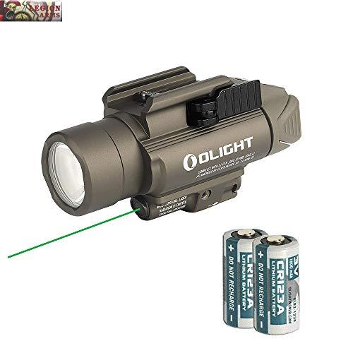 Olight Baldr Pro Green Laser and LED Light Combo, 1350 Lumen CW LED Flashlight, Quick Release Mount, 2 x CR123A Batteries and LegionArms Sticker (1- Desert Tan (FDE))