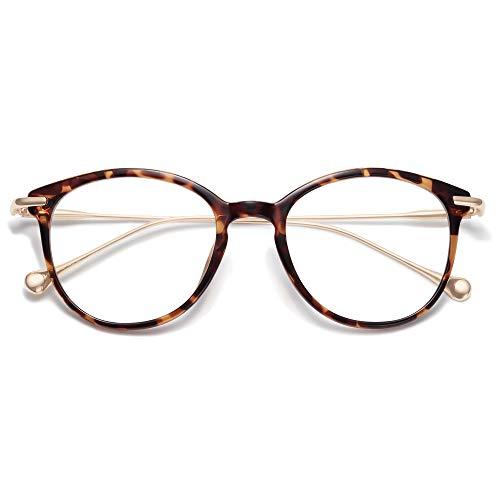 SOJOS Runde Brille mit Blaulichtfilter Katzenauge ohne Sehstärke TR90 Rahmen SJ5075 mit Demi Rahmen/Anti-Blaulicht Linse