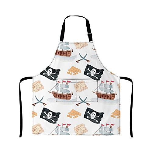 Reebos wc piratas azulejos cocina cocina delantal hornada jardinería camarera delantal lindo barbacoa parrilla pintura chef delantal para mujeres hombres