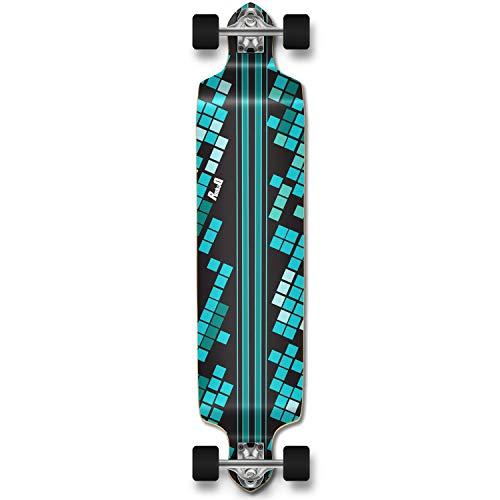 YOCAHER Professinal Speed Drop Down Complete Longboard Skateboard (Black Digital Wave)