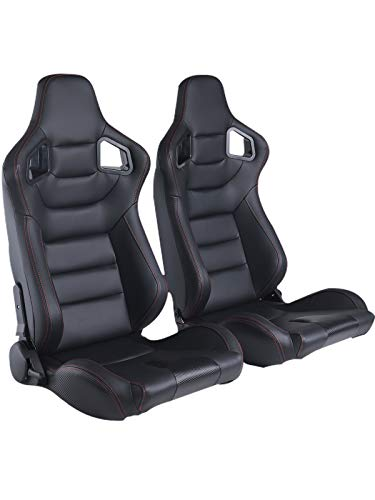 N / A Racing Seats, 2PCS Universal PVC Leather Bucket Seats Sport Pair Adjustable Seats with Sliders (Black & Red Stitching)