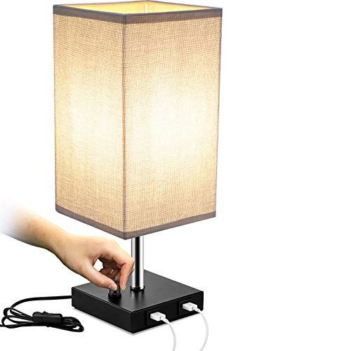Qucover Dimmbare Nachttischlampe mit USB-Ladefunktion Tischlampe mit E27 Glühbirne Warmweiß Grau Lampenschirm Tischleuchte mit Schalter & EU-Stecker für Schlafzimmer Wohnzimmer Modern