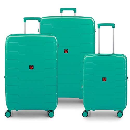 RONCATO Skyline - Juego de 3 maletas rígidas extensibles (L, medio + cabina), color menta