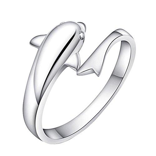 fablcrew Modischer Ring Silber simple-open verstellbaren Ringen Hochzeit Schmuck für Lady Mädchen DOLPHIN