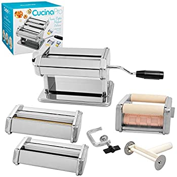Pasta Maker Deluxe Set 5 Piece Steel Machine with Spaghetti Fettuccini Roller Angel Hair Ravioli Noodle Lasagnette Cutter Attachments Includes Hand Crank Counter Top Clamp & Cleaning Brush