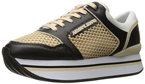 Armani Jeans Damen Double Decker Sneaker, schwarz/beige, 37 EU