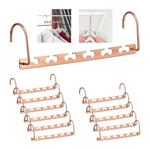 Relaxdays 12 x Raumsparbügel im Set, für je 12 Bügel, waagerecht & senkrecht, platzsparende Kleiderbügel, 26 cm, Metall, Kupfer