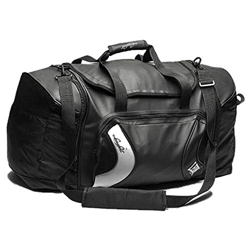 Leone 1947 Hybrid Sporttasche - Black Edition Schwarz - Große Sporttasche Trainingstasche Gym Tasche für Kampfsport Fitness Boxen Muay Thai Fitness - auch als Rucksack verwendbar