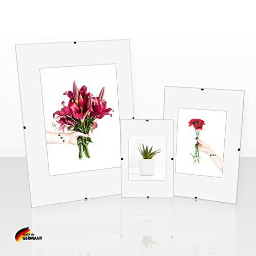 Clippo Rahmenloser Bilderrahmen Posterrahmen 75x98 cm Cliprahmen Bildhalter 98x75 cm Postergröße mit Rückwand und klarem Kunstglas 1 mm