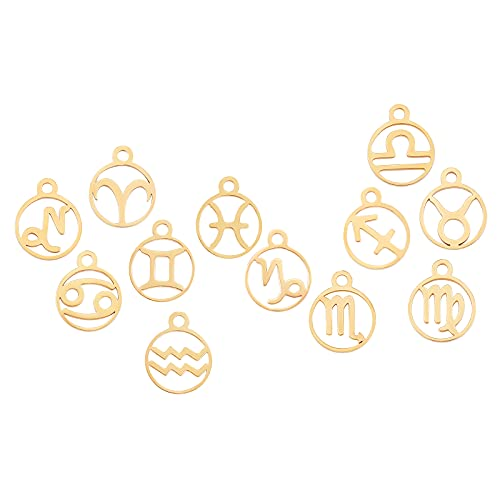 SUNNYCLUE 1 caja de 12 colgantes de acero inoxidable, 12 constelaciones, signo del zodiaco, dijes de astrología y horóscopo, cuentas planas y redondas, accesorios para mujeres, manualidades