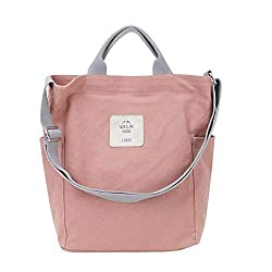 *Size: 28 x 12 x 33 cm (L * W * H); Handle height: 8 cm; Adjustable strap 65 - 120 cm.The women handbag is made of sturdy, solid and comfortable canvas fabric. *The large ladies shoulder bag has two handles and a shoulder strap, which is adjustable i...