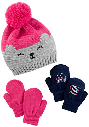Simple Joys by Carter's Baby Girls' Toddler Hat and Mitten Set, Pink/Grey Bear, 2T-5T