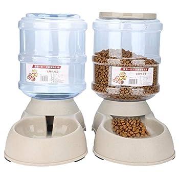 Zerone Distributeur automatique de nourriture et d'eau pour animaux domestiques, distributeur automatique de nourriture/eau pour chien/chat - 2 pièces - bol d'eau 3,75 l