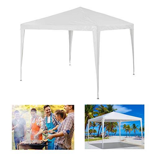 3x3m Pavillon Gartenpavillon Partyzelt Hochzeit Familie Grill Zelt ohne Seitenteilen Einfache Installation inklusive Heringe, Seiles, Eckverbinder, Material PE-Plane - Weiß