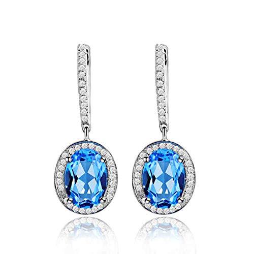 Daesar Pendientes de Oro Blanco 18 Kilates Mujer,Oval con Topacio Azul 5.35ct Diamante Blanca 0.33,Plata Azul