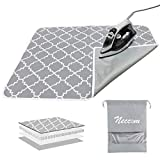 Neccom Ironing Mat with Silicone Pad Heat Resistant Ironing Blanket, Thick Portable Travel Ironing Pad for Table Top, Washer and Dryer, Cotton Ironing Padding Pack in Drawstring Bag