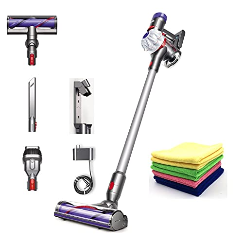 Premium Dyson V7 Allergy HEPA Cordless Stick Vacuum Cleaner: Bagless, Lightweight, Cord-Free, Whole Machine Filtration, Rechargeable, Ergonomic, White + One Maxitek Microfiber Cloth