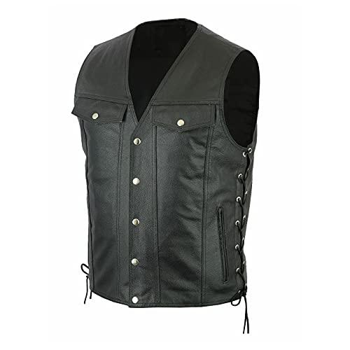 URIBAKY - Bolso para hombre con cuello en V, estilo retro, con chaleco de piel con botones, transpirable, ligero, cómodo para correr, Le Noir, M