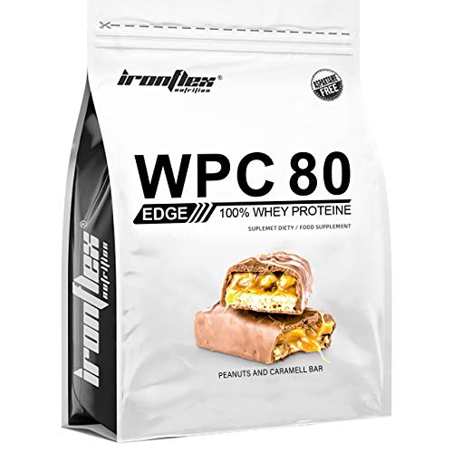 IronFlex WPC 80 Edge – 1 Pack – Whey Protein Concentrate – Full Amino Acid Profile – Cutting Edge Supplement – Zero Sugar (Peanuts and Caramel, 909g)