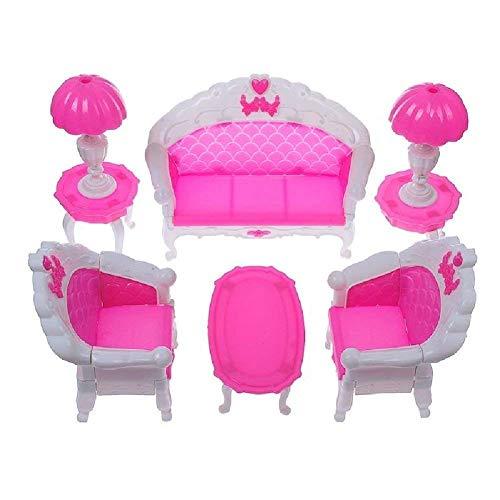 fat-catz-copy-catz Ensemble Mobilier Salon Rose pour Poupée Mannequin Taille Barbie Sindy Divan Chaises Tables et Lampes