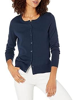 Amazon Essentials Women s Lightweight Crewneck Cardigan Sweater Navy XX-Large