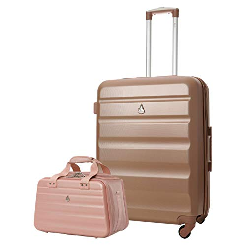 Aerolite 25' Lightweight ABS Hard Shell Check in Luggage Suitcase + Ryanair Max Size 40x20x25cm Hand Cabin Shoulder Flight Bag Rose Gold + Rose Gold