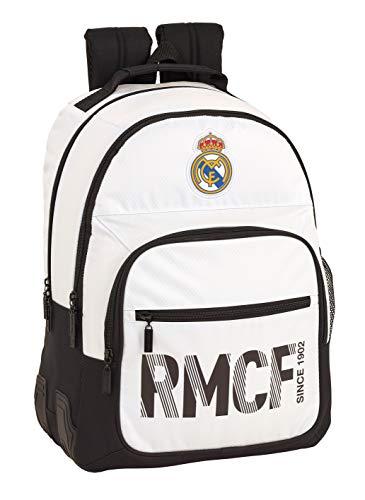 Real Madrid C.F. Mochila Doble con cantoneras Adaptable a Carro, Blanca/Negra
