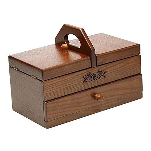 non-brand Cesta de Costura Caja de Madera Caja de Almacenamiento de Herramientas de Artista Organizadores para Suministros de Costura