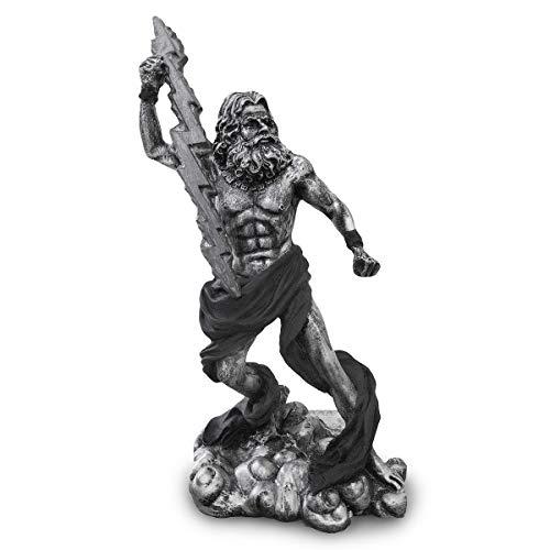 Estátua Zeus Deus Grego Mitologia Trovão Relâmpago Resina (Prata/Preto)