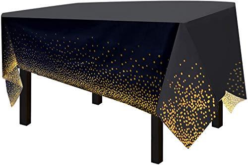 Weihnachtstischdecke Punkt-Tischdecken Gold Party Dot Konfetti Tischdecken Rechteckige Tischdecken Tischdecken für Geburtstagspartys Hochzeit Jahrestag Babyparty Party (schwarze Tischdecke)