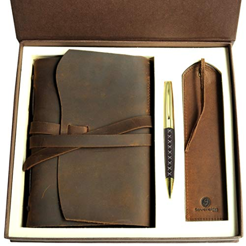 Leather Journal Gift Set with Antique Leather Bookmark +...