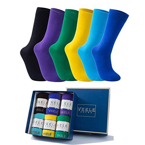 Vkele 6 Paar einfarbig Socken Geschenkpack Ideal als Valentinsgeschenke, bunt Herrensocken, Baumwolle, Crew Socken, für Business und Freizeit, blau, lila, schwarz, gelb, grün, hellblau, 43 44 45 46