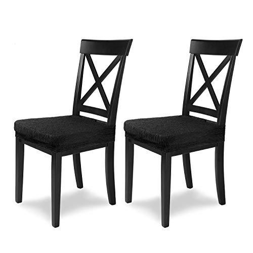 SCHEFFLER-Home Jara 2 Fundas para Asiento de sillas, Estirable Cubiertas, extraíble Funda con Banda elástica, Negro