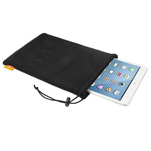 FATEGGS Accesorios para teléfonos móviles Bolso de la Bolsa de cordón de la Malla de Nylon con el Cable de la Estancia para iPad Mini 3/2/1, Tamaño: 24 cm x 16 cm Casos Cubre (Color : Black)