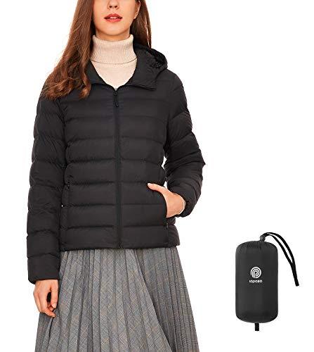 LAPASA Damen Daunenjacke Übergangsjacke mit Kapuze Packbar MEHRWEG L23 (Schwarz, XXL)