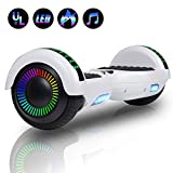 """Felimoda Hoverboard with Bluetooth, 6.5"""" LED Light Wheel Self Balancing Scooter, Two-Wheel Hoverboard, Electric Scooter for Kids & Adult, UL2272 Certified Self Balancing Hoverboards - White"""