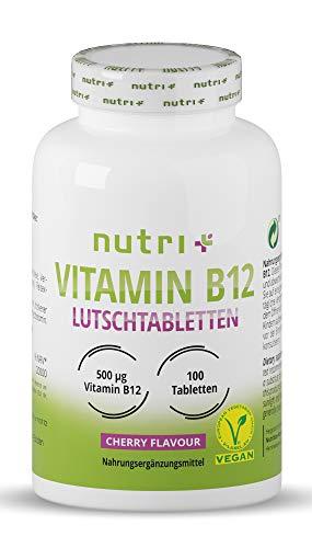 Vitamin B12 Lutschtabletten - vegan & hochdosiert - 500µg (mcg) - 100 vegane Tabletten zum Lutschen - aktives Methylcobalamin ohne Laktose - Geschmack Kirsche - mit Xylit