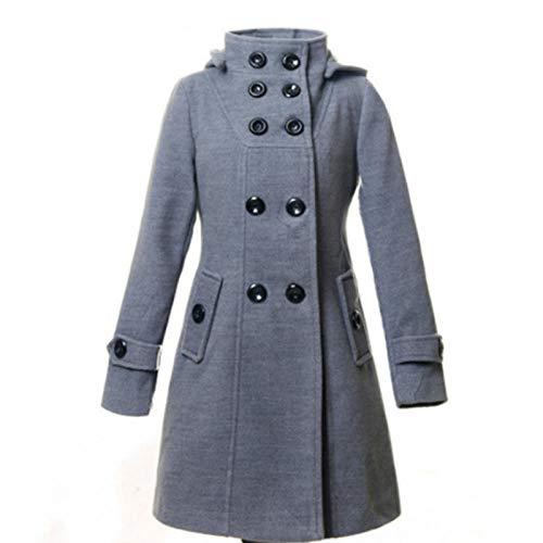 Abrigo de invierno de manga larga con doble botones para mujer, con capucha, elegante para mujer, para la oficina, para damas y abrigos